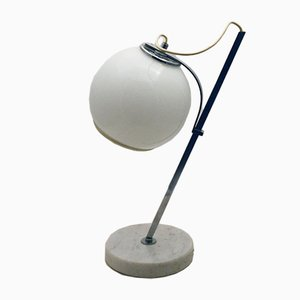 White Table Lamp with Adjustable Glass Lampshade and Marble Base, 1970s