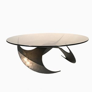 Propeller Coffee Table in Smoked Glass and Metal by Knut Hesterberg for Ronald Schmitt, 1960s