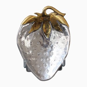 Aluminium & Brass Strawberry-Shaped Tray, 1970s