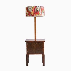 Mobiletto in legno di noce con lampada, anni '70