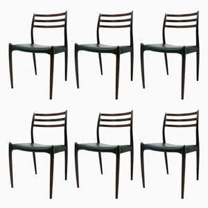 Vintage Palisander Stühle von Niels O'Moller, 6er Set