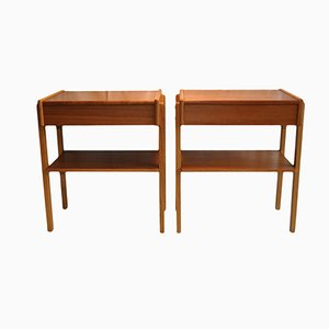 Swedish Mid-Century Nightstands, Set of 2