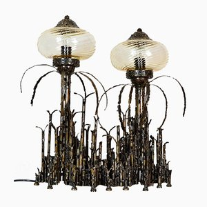 Brutalist Italian Wrought Iron Table Lamp by Vella, 1981
