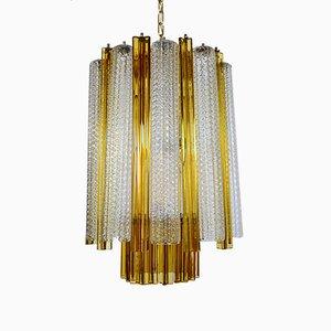 Lámpara de araña de cristal de Murano con vidrio Trilobi de Venini, años 60