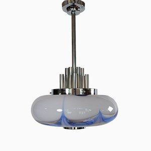 Italian Chrome and White Blue Murano Glass Pendant Lamp, 1970s