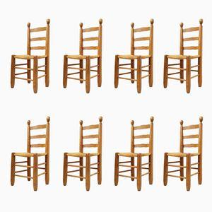 Chaises en Chêne et Paille, 1960s, Set de 8