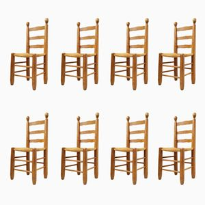 Stühle aus Eiche und Stroh, 1960er, 8er Set