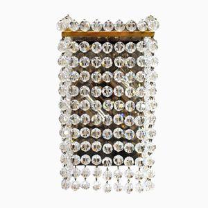 Applique grandi in ottone e cristallo tagliato a mano di Lobmeyr, anni '60, set di 2