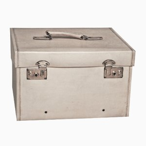 Small Beige Vellum Steamer Trunk, 1920s