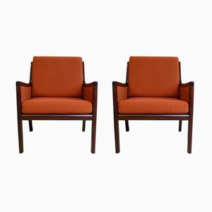 Mahogany Lounge Chairs by Ole Wanscher for Poul Jeppesen Møbelfabrik, 1960s, Set of 2
