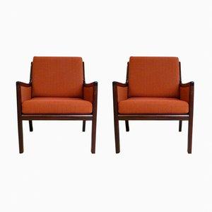 Sessel aus Mahagoni von Ole Wanscher für Poul Jeppesen Møbelfabrik, 1960er, 2er Set