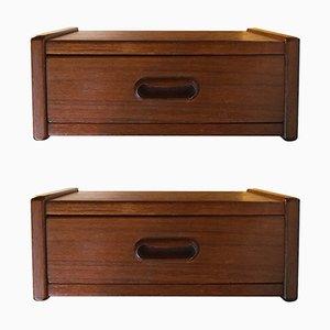 Danish Modern Floating Teak Bedside Tables, 1960s, Set of 2