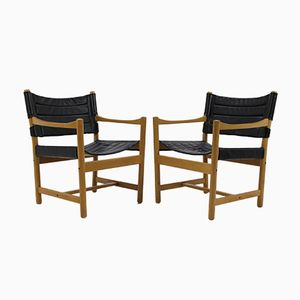 Danish Black Leather Armchairs by Ditte & Adrian Heath, 1960s, Set of 2