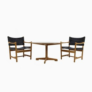 Schwarze Dänische Leder Armlehnstühle & Kaffeetisch von Ditte & Adrian Heath,1960er