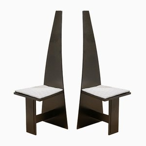 Modernist Cubic Painted Plywood Hallway Chairs, 1930s, Set of 2