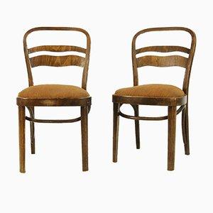 Chaises Vintage Style Art Déco en Placage de Noyer, Set de 2