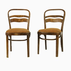 Vintage Art Deco-Style Walnut Veneer Chairs, Set of 2