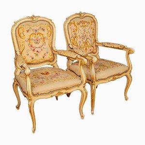 Italienische Lackierte und Vergoldete Armlehnstühle, 1950er, 2er Set