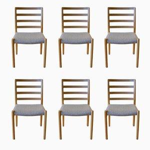 Skandinavische Vintage Esszimmer Stühle aus Eiche von Niels Otto Møller, 6er Set