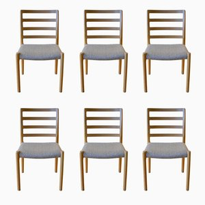 Vintage Scandinavian Dining Chairs in Oak by Niels Otto Møller, Set of 6