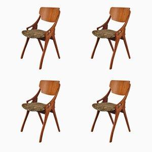Sedie da pranzo di Arne Hovmand Olsen per Mogens Kold, Scandinavia, anni '50, set di 4