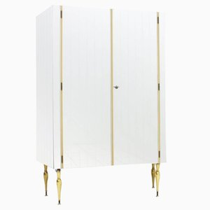 Mirrored Asymmetric Wardrobe with Brass Legs, 1960s