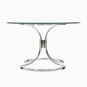 Mesa de comedor de vidrio y acero tubular de Giotto Stoppino, años 60