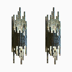 Metal Brutalist-Style Sconces by Marcello Fantoni, 1960s