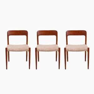 Modell 75 Stühle von Niels O. Møller für J.L. Møllers Møbelfabrik, 1960er, 3er Set
