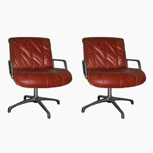 Italian Leather Desk Chairs, 1960s, Set of 2