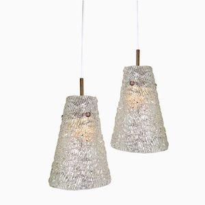 Lampade a sospensione coniche in vetro di Orrefors, Svezia, anni '60, set di 2