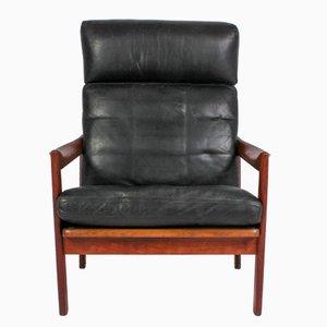 High Back Teak Lounge Chair by Illum Wikkelsø for Niels Eilersen, 1960s