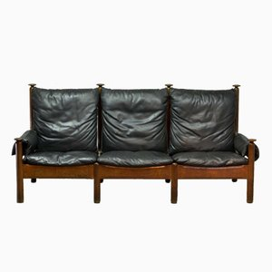 Scandinavian Black Leather Three-Seat Sofa, 1960s