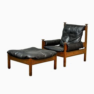 Scandinavian Black Leather Lounge Chair & Ottoman, 1960s