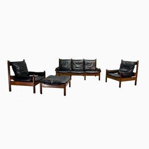 Mid-Century Scandinavian Black Leather Sofa Set, 1960s
