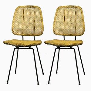 Schilfrohr Stühle von Dirk Van Sliedregt für Rohé Noordwolde, 1950er, 2er Set