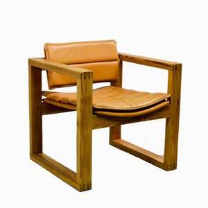 Cubic Pinewood & Leather Armchair by Ate van Apeldoorn for Houtwerk Hattem, 1970s