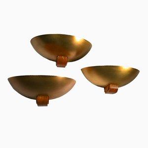 Apliques Art Déco de latón dorado y madera, años 30. Juego de 3
