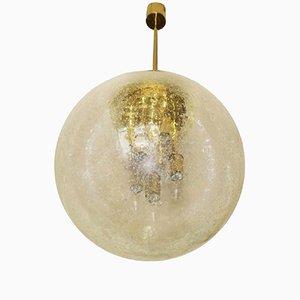Lampada a sospensione grande sferica in vetro satinato e ottone di Doria, anni '60