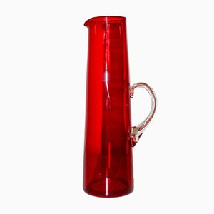 Mid-Century Swedish Red Glass Jug by Monica Bratt for Reijmyre Glasbruk
