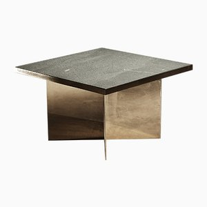 Table Basse Verdi en Laiton Poli et Ardoise Verte par Richy Almond pour Novocastrian