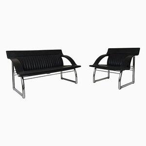 Conjunto de sofá y sillón DS-127 de cuero negro de Gerd Lange para de Sede, años 80