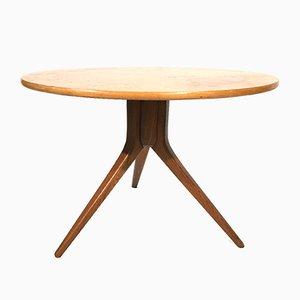 Swedish Circular Coffee Table in Teak and Burl, 1960s