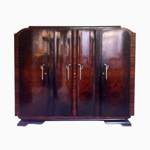 Spanish Art Deco Walnut Wardrobe with Mirrors, 1940s