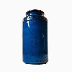 Jarrón danés de cerámica azul de Maria Phillipi para Søholm, 1984
