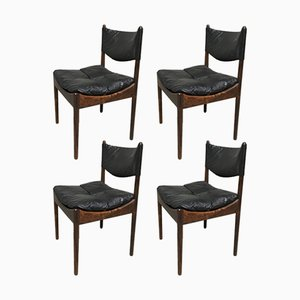 Mid-Century Danish Rio Palisander & Black Leather Chairs by Kristian Vedel for Soren Willadsen, Set of 4