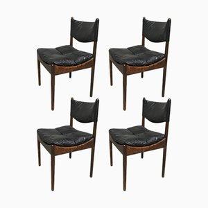 Mid-Century Danish Rio Palisander & Black Leather Chairs by Kristian Vedel for Soren Willadsen, Set of 4