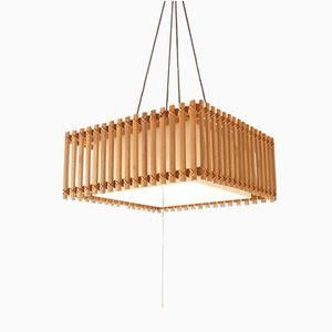 Lampada a sospensione in legno e plexiglas, anni '70