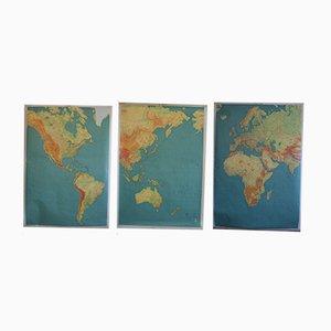 Mapa del mundo francés vintage dividido en tres partes