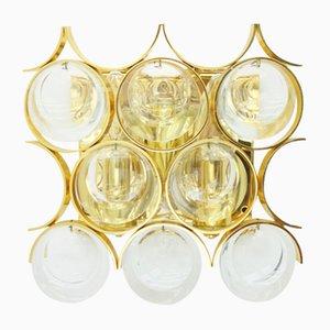 Aplique de pared de latón dorado y cristal de Ernst Palme para Palwa, años 60